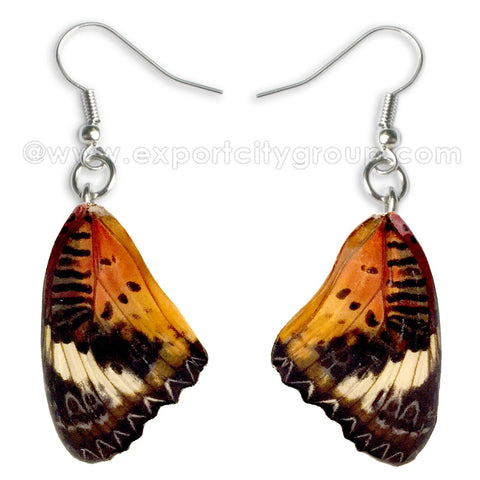 Real Butterfly Wings Jewelry Earring - Lacewing natural