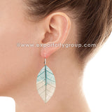 Real Leaf Jewelry Earring (Blue / Clear)