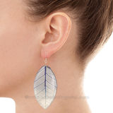 Real Leaf Jewelry Earring (Navy / Clear)