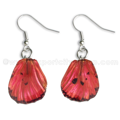 Real Butterfly Wings Jewelry Earring - WG03 Dyed Red