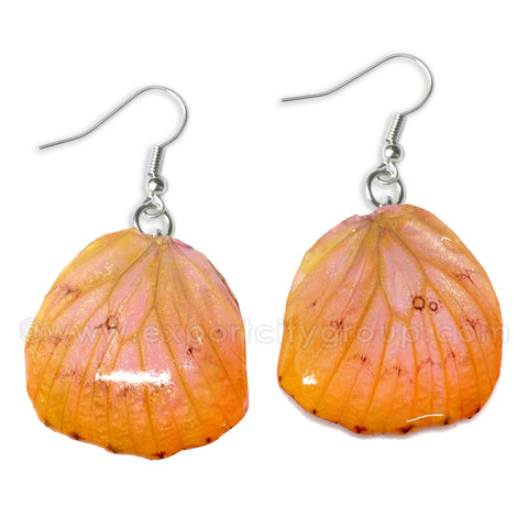 Real Butterfly Wings Jewelry Earring - WG04 Dyed Pink Orange