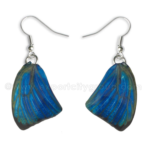 Real Butterfly Wings Jewelry Earring - WG05 Dyed Navy
