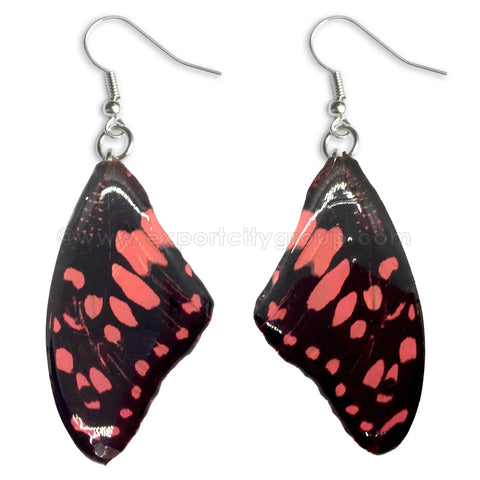 Real Butterfly Wings Jewelry Earring - WG01 Dyed Pink