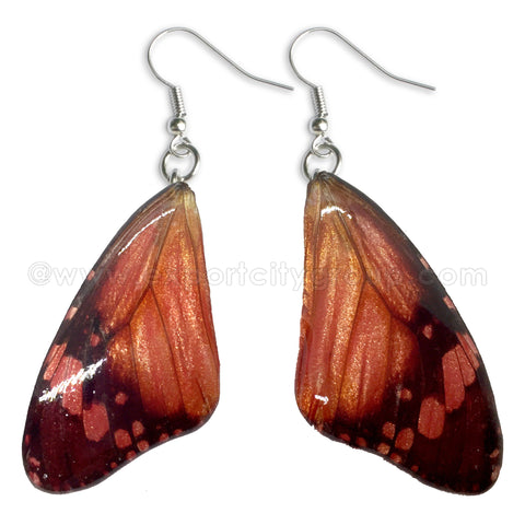 Real Butterfly Wings Jewelry Earring - WG06 Dyed Red