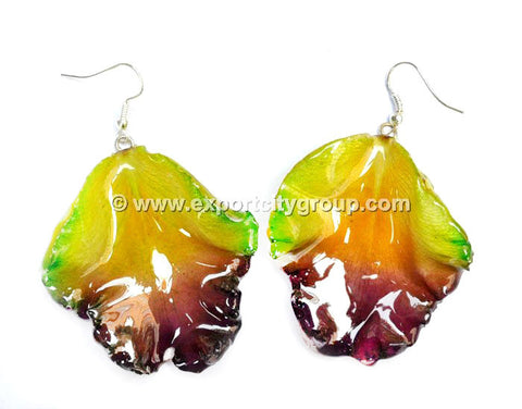 Cattleya Orchid Jewelry LIP Earring (Green Purple)