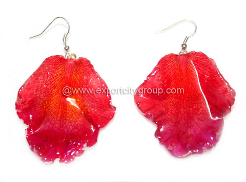 Cattleya Orchid Jewelry LIP Earring (Deep Red)