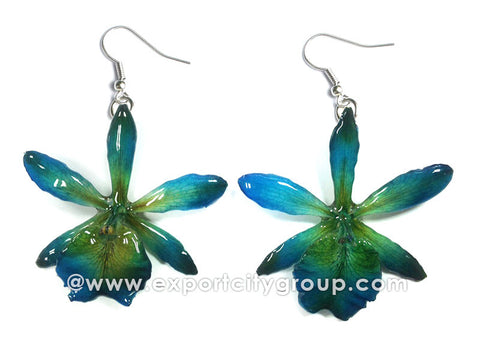 Cattleya Mini Orchid Jewelry Earring (Blue)