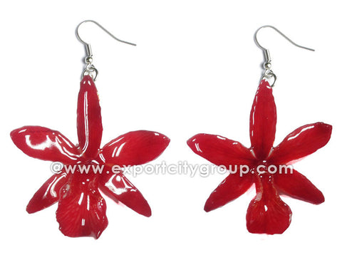 Cattleya Mini Orchid Jewelry Earring (Red)