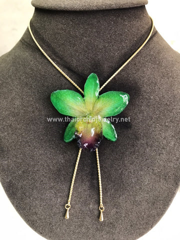 Cattleya Orchid Jewelry Slider Necklace Gold Plated 24K - GREEN
