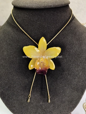 Cattleya Orchid Jewelry Slider Necklace Gold Plated 24K - YELLOW
