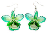 "Chrysotoxum ""Dendrobium"" Orchid Jewelry Earring (Dark Green)"