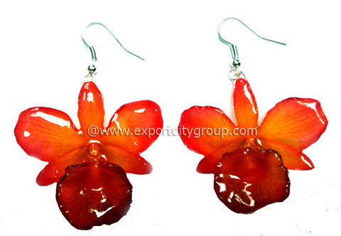 "Chrysotoxum ""Dendrobium"" Orchid Jewelry Earring (Orange)"