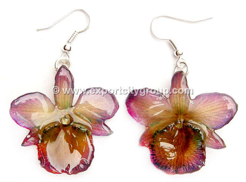 "Chrysotoxum ""Dendrobium"" Orchid Jewelry Earring (Purple)"