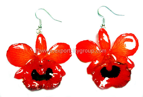 "Chrysotoxum ""Dendrobium"" Orchid Jewelry Earring (Red 2 tone)"