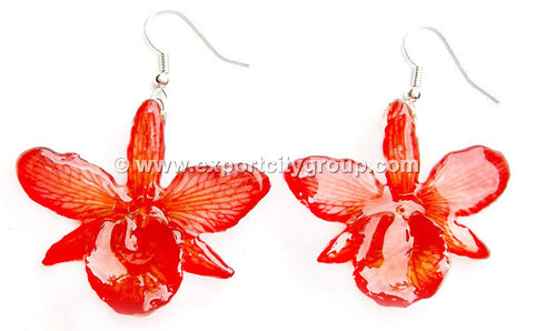 "Chrysotoxum ""Dendrobium"" Orchid Jewelry Earring (Red)"