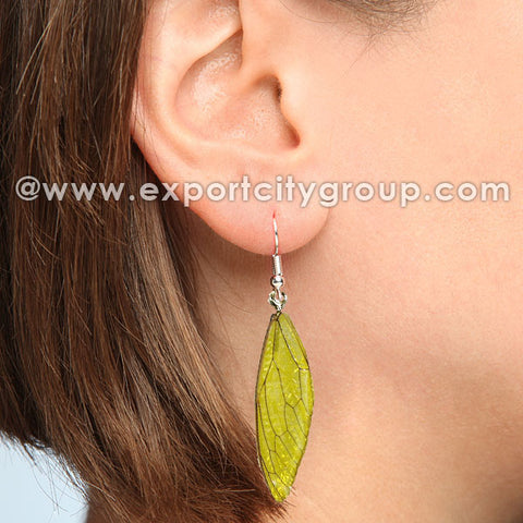 Real Cicadas Insect Wings Earring (Lime Green)