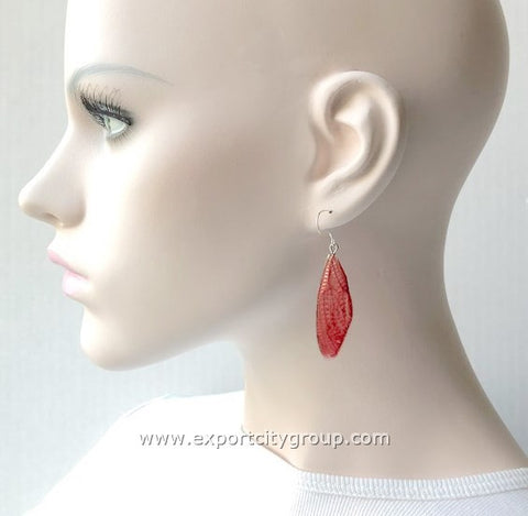 Real Cicadas Insect Wings Earring (Red)