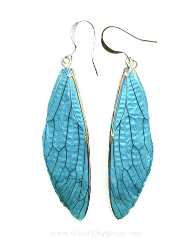 Real Cicadas Insect Wings Earring (Turquoise)