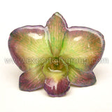 "Diamond ""Dendrobium"" Orchid Jewelry pendant (Green Purple)"