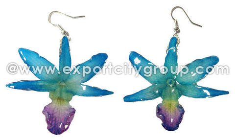 "Draconis ""Dendrobium"" Orchid Earring (Blue Turquoise)"