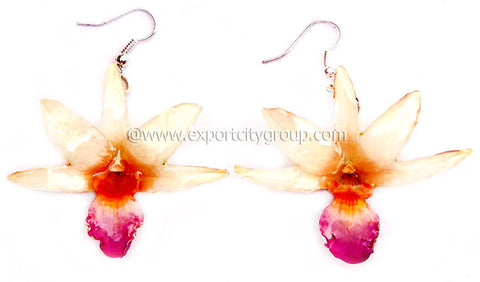 "Draconis ""Dendrobium"" Orchid Earring (White ""Pink Lips"")"