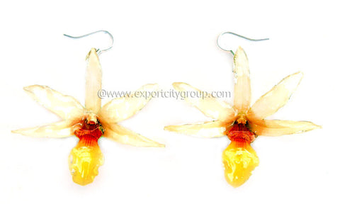 "Draconis ""Dendrobium"" Orchid Earring (White ""Yellow Lips"")"