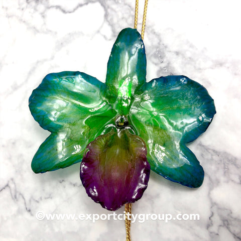 "Nobile ""Dendrobium"" Orchid Jewelry Necklace Slider (Green Blue)"