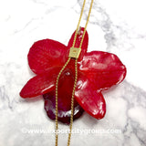 "Nobile ""Dendrobium"" Orchid Jewelry Necklace Slider (Red)"