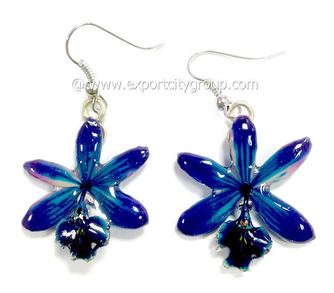 Epidendrum Orchid Jewelry Earring (Navy Blue)