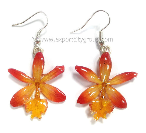 Epidendrum Orchid Jewelry Earring (Orange)