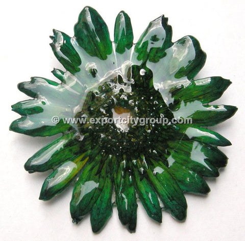 Gerbera Flower Jewelry 2-in-1 pendant/brooch (Dark Green)