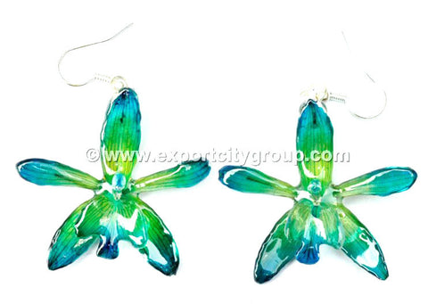 Grammatophyllum Orchid Jewelry Earring (Blue Turquoise)