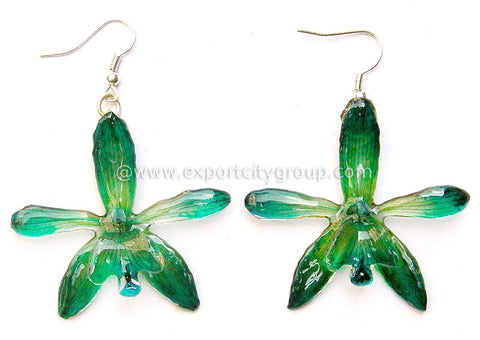 Grammatophyllum Orchid Jewelry Earring (Dark Green)