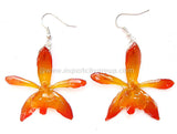 Grammatophyllum Orchid Jewelry Earring (Orange)