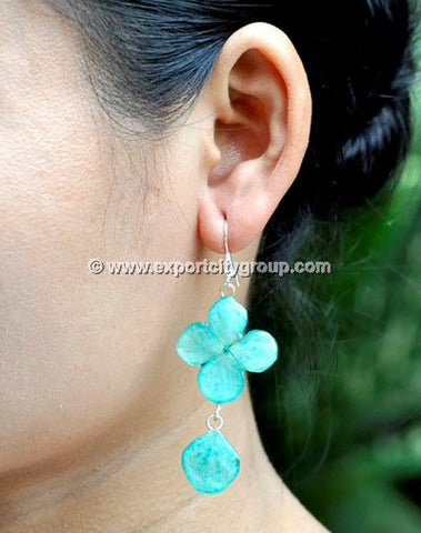 Hydrangea Flower Jewelry Earring (Blue Aqua)