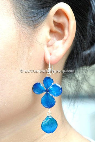 Hydrangea Flower Jewelry Earring (Navy Blue)