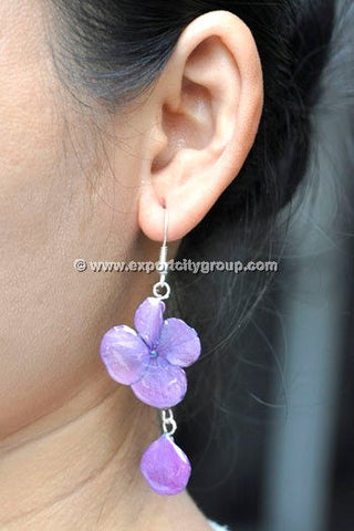 Hydrangea Flower Jewelry Earring (Purple)