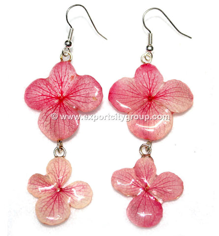 Hydrangea Flower Jewelry Earring (Light Red)