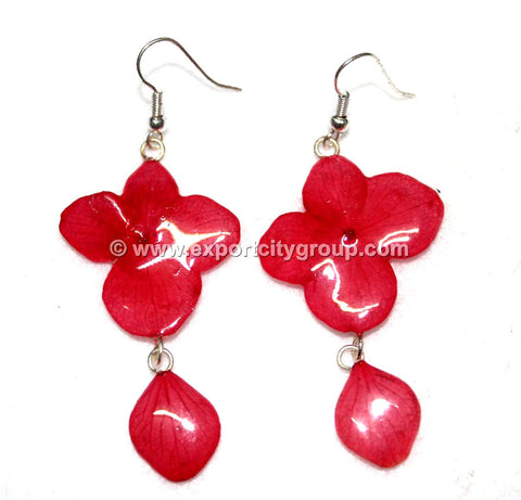 Hydrangea Flower Jewelry Earring (Deep Red)