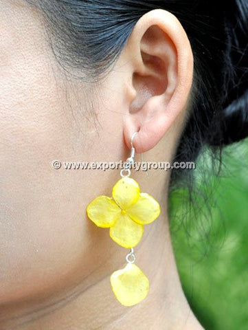 Hydrangea Flower Jewelry Earring (Yellow)