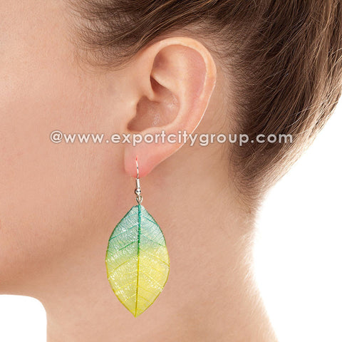 Real Leaf Jewelry Earring (Green / Yellow)