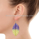 Real Leaf Jewelry Earring (Purple / Yellow)