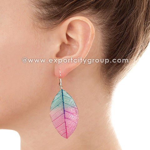 Real Leaf Jewelry Earring (Blue Turquoise / Pink)