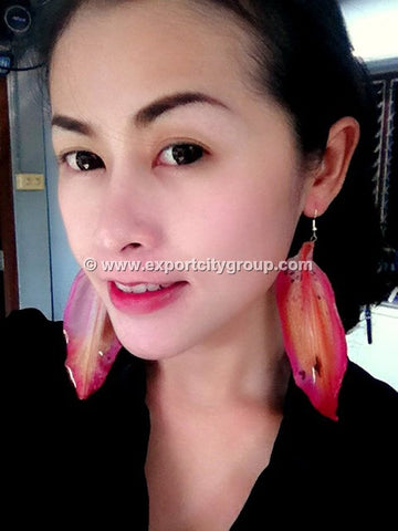 Lily Real Flower Jewelry Earring (Pink)