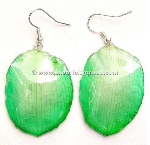 Lotus Real Flower Jewelry Earring (Green)