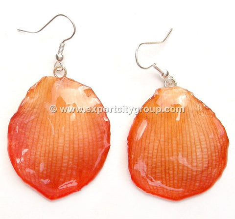 Lotus Real Flower Jewelry Earring (Orange)