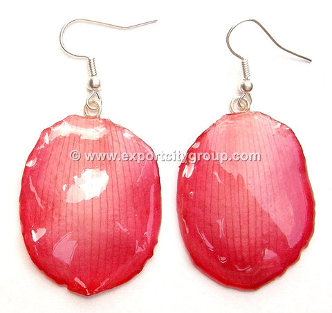 Lotus Real Flower Jewelry Earring (Red)