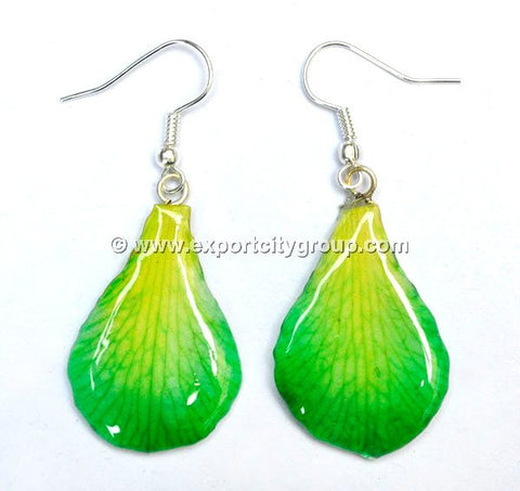 "Lucy ""Dendrobium"" Orchid Petal Earring (Green)"