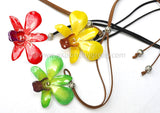 "Lucy ""Dendrobium"" Orchid Pendant (Yellow / Red)"