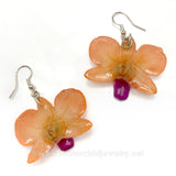 "Mini ""Diamond"" Dendrobium Orchid Earring (Orange)"